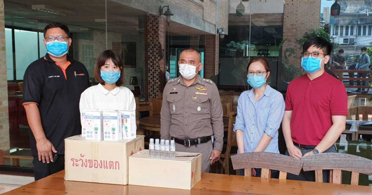 """NUDENT provides """"Thermometer and Hand Sanitizer"""" to Royal Thai Police for using in COVID-19 operation"""
