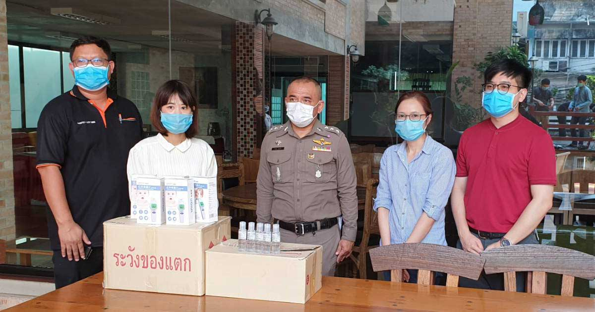 "NUDENT provides ""Thermometer and Hand Sanitizer"" to Royal Thai Police for using in COVID-19 operation"
